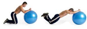 Flexión de rodillas en la pelota suiza: